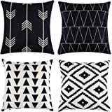Tosewever Set of 4 Decorative Geometric 18 x 18 Inches Throw Pillow Covers - Modern Pattern Linen Square Pillow Cushion Case
