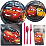 Disney Cars 3 Birthday Party Supplies Pack Including Cake & Lunch Plates, Cutlery, Cups, Napkins (8 Guests)