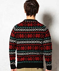 Snowflake 5-Gauge Wool Crewneck Sweater 3213-105-0378: Black