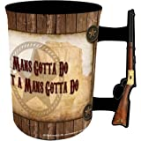 John Wayne 16oz Mug with Rifle Handle - A Man's Gotta Do.