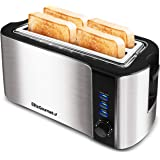 """Elite Platinum ECT-3100 Cool Touch Long Slot Toaster with Extra Wide 1.25"""" Slots for Bagels, 6 Settings, Space Saving Design,"""