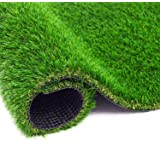BEAUTYFLOWER Artificial Grass Rug, 4 Tone Realistic Indoor Outdoor Garden Lawn Landscape Patio Synthetic Turf Mat Synthetic T