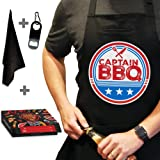 West End Warehouse Funny Apron, BBQ Apron, Grill Apron, Chef Apron, Black Kitchen Apron with 3 Pockets, Bottle Opener, Towel