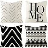 Set of 4 Decorative Throw Pillow Covers 18x18 Inch for Couch, Black and White/Cream Square Accent Pillows Cover Case for Cush