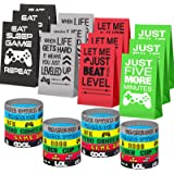 Game On Party Supplies Favors 24 Pieces Video Game Goodie Bags and 24 Pieces Video Game Bracelets Wristbands For Kids Birthda