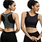 Eunicer 3 Pack High Neck Sports Bras for Women Medium Impact Longline Workout Yoga Tank Tops