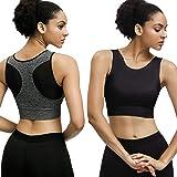 Eunicer 3 Pack High Neck Sports Bras for Women Medium Impact Longline Workout Yoga Tank Tops