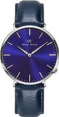 Welly Merck 腕時計 メンズ スイスクォーツ 42MM ブルー文字盤 20MM 青レザーストラップ 日常生活防水