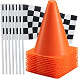Bedwina Traffic Cones and Racing Checkered Flags - (24 Pcs) 12 - Black and White Flags on Sticks and 12 – 7-Inch Mini Orange