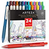 ARTEZA Colored Gel Pens, 24 Pack of Assorted Colors, 10 Vintage and 14 Vibrant Colors, 0.7 Mm Fine Tip, Retractable, for Jour