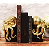 Ebros Contemporary Gold Color Octopus Light Duty Bookends Statue Set Nautical Coastal Resin Decorative Office Study-Room Libr