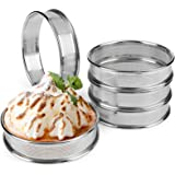 FANGSUN Round Perforated Tart Rings, Stainless Steel Cake Mousse Ring, 0.75 Inch High, 3.15 Inch in Diameter, Heat-Resistant