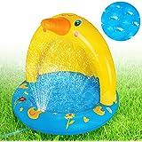 Inflatable Baby Pool, Kiddie Splash Duck Pool with Shade Sprinkler, Outdoor Water Toys Summer Kiddy Plastic Blow up Swimming