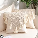 Throw Pillow Covers, Macrame Cushion Case, Woven Boho Cushion Cover for Bed Sofa Couch Bench Car Home Decor, Comfy Square Pil