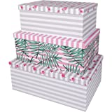 SLPR Decorative Storage Cardboard Boxes (Set of 3 Tropical) | Nesting Gift Boxes with Lid for Keepsake Toys Photos Memories C