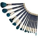 Jessup 15pcs Makeup Brushes Set Powder Foundation Eyeshadow Eyeliner Lip Contour Concealer Smudge Brush Tool Blue/Darkgreen T