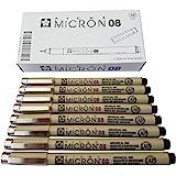 Sakura Pigma Micron Pen 08 Black Felt tip Artist Drawing pens - 8 Pen Set