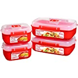 Sistema 82005 Heat and Eat Microwave Set, 4 Rectangular Food Containers with Lids (2X 1.25L and 2X 525ml), Locking Clips and