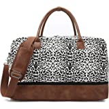 Weekender Bag Carry on Overnight Duffel for Women, Carrying Weedkend Travel Bags for Ladies, Large Canvas& PU Leather with Sh