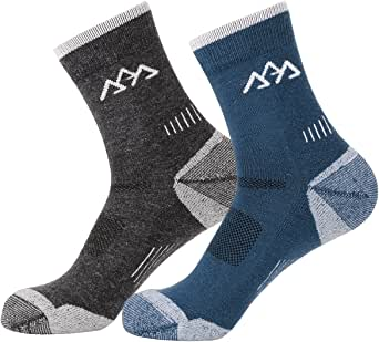 2足二色セット 靴下 メンズ メリノウール パイル 登山用靴下 半分厚さ 通気/防臭/速乾 ハイキング/登山/スポーツ ソックス 男性靴下 アウトドア ウェア 24.5-27.5cm