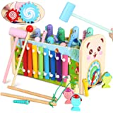 Wooden Pounding and Hammer Toy Early Educational Motor Skill Toy with Fishing Game Xylophone Moving Gears Clock Best Gift and