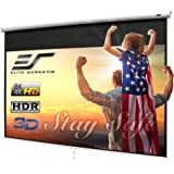 "Elite Screens Manual B, 100"" 16:9, Manual Pull Down Projector Screen 4K / 3D Ready with Slow Retract Mechanism, 2 Year Warran"