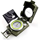 AOFAR Military Compass Lensatic Sighting-Multifunctional, Fluorescent, Waterproof and Shakeproof with Inclinometer and Carryi