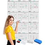 """Scribbledo Jumbo Dry Erase Yearly Calendar 36"""" x 48"""" 12 Month Reusable Wall Planner Includes 4 Markers 1 Eraser and Mounting"""