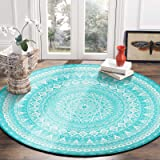 LEEVAN Modern Non-Slip Backing Machine Washable Round Area Rug Living Room Bedroom Children Playroom Soft Flannel Microfiber