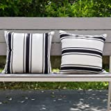 HOMFREEST Waterproof Pillow Cover 18×18 Outdoor Throw Pillows Black and White Striped Pillowcases Set of 2 for Pation Furnitu