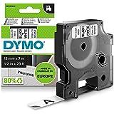 Dymo S0720530 Label Tape D1 Black on White Label Tape, (23482), 12mm x 7m