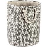 DII Geo Diamond Woven Paper Laundry Hamper or Storage Bin, Large Round, Gray