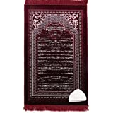 Modefa Lux Plush Regal Velvet Islamic Prayer Rug Muslim Turkish Carpet with Free Prayer Cap & Beads (Red)