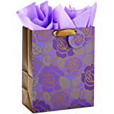"""Hallmark 13"""" Large Gift Bag with Tissue Paper (Purple Flowers, Gold Accents) for Birthdays, Mother's Day, Bridal Showers, Wed"""