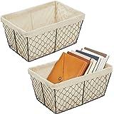 mDesign Metal Farmhouse Home Storage Organizer Basket - Chicken Wire Design, Fabric Liner - for Kitchen, Bathroom, Living Roo