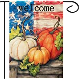 Apipi 18 x 12 Inch Welcome Fall Garden Flag- Double Sided Patriotic Decorative Thanksgiving Autumn Harvest Pumpkin House Flag