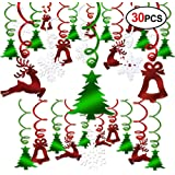 Christmas Hanging Swirl Decoration Kit(30pcs), Konsait Merry Christmas Swirls Garland Green Red Foil Hanging Ceiling Decorati