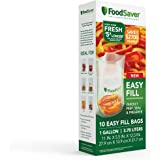 FoodSaver Vacuum Sealer Bags | Commercial Grade and Reusable, Clear, 1 GALLON, 10 Count, 2083546