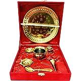 Gavya Gold Plated Pooja thali Set Indian Traditional Pooja Plate Set (Bell, Lota, Jyot) Occasional Gift Puja Thali for Diwali