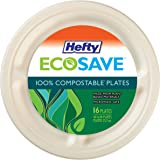 Hefty ECOSAVE Compostable Compartment Plates, 10-1/8 Inch, 16 Count
