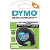 DYMO LetraTag Labeling Tape for LetraTag Label Makers, Black print on Metallic Silver tape, 1/2'' W x 13' L, 1 roll (91338)