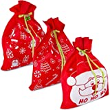 """3 Giant Christmas Gift Bags 36"""" x 44"""" Reusable Made of Durable Fabric with Ribbon and Gift Tag for Holiday Wrapping Extra Lar"""
