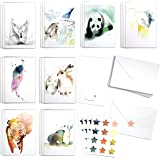 Cute Watercolor Wildlife Assortment Set by Blule Box of 24 Animals Paintings Greeting Cards with Envelopes and Seal Stickers.