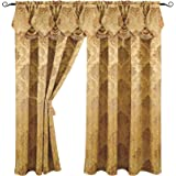 Luxury Jacquard Curtain Panel with Attached Waterfall Valance, 54 by 84-Inch Angelina Gold