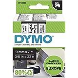 DYMO S0720680 D1 Label Cassette Tape, 9mm x 7m, Black/White