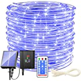 Solar Rope Lights Outdoor Waterproof LED - 200 LED Solar Rope String Lights, 72FT 8 Modes with Remote Flexible Solar Tube Str