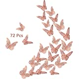 3D Butterfly Wall Stickers, 72Pcs 3 Sizes 2 Styles, Removable Metallic Wall Decals Fridge Sticker Room Mural Decoration for K