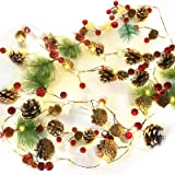 7 Foot Christmas String Lights with Pine Cone Red Pearl Bell Garland with Lights 20 LED Warm White Battery Operated Christmas