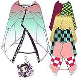 XerathDIYブランケット フード付き胡蝶しのぶ 着る毛布 ルームウェア 肩掛け ショール マント 和柄 生地 仮装 もこもこ かわいい グッズ 周辺 誕生日プレゼント (胡蝶しのぶ)