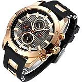 STONE メンズ 腕時計 クォーツ 多機能 ウォッチ シンプル 男性 時計 クロノグラフ 日付表示